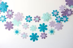 flower floral garland in lavender purple teal turquoise wedding birthday party baby shower. $8.00, via Etsy.