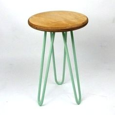 Wooden Stool with Industrial Style Hairpin Legs