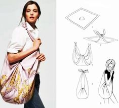 We love furoshiki so much. Even Hermes has realized the wonders of furoshiki and included the instruction in their scarf packaging. How To Fold Scarf, Diy Fashion, Ideias Fashion, Fashion Ideas, Fashion Quotes, Fashion Women, Fashion Brands, Fashion Accessories, Hippie Bags