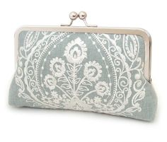 Clutch bag wedding purse blue and white bridesmaid by redrubyrose, $85.00