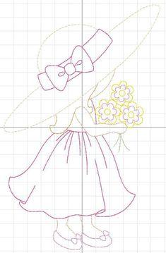 SunBonnet Sue Bouquet Design For Machine Embroidery Vintage Sunbonnet Sue, Free Machine Embroidery, Embroidery Stitches, Embroidery Patterns, Hand Embroidery, Applique Quilt Patterns, Hand Applique, Applique Designs, Doily Patterns