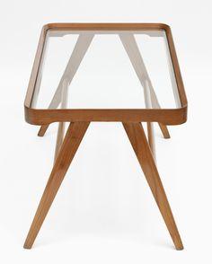 Osvaldo Borsani; Mahogany and Glass Occasional Table, c1950.