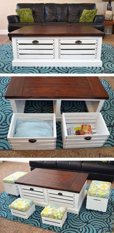 Crate Storage Coffee Table and Stools Add storage to your living areas by building a stylish and unique crate storage coffee table free woodworking plans. The post Crate Storage Coffee Table and Stools appeared first on Woodworking Diy. Build A Coffee Table, Coffee Table With Storage, Coffee Tables, Coffee Table With Stools Underneath, Coffee Table Toy Box, Wooden Crate Coffee Table, Coffee Cups, Pallet Furniture, Furniture Plans