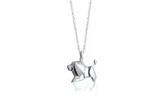 ~ Lion necklace ~ Rhodium plated sterling silver lion origami long necklace by Bowerbird Australia | $139.95