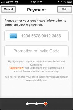 postmates - create account - credit card