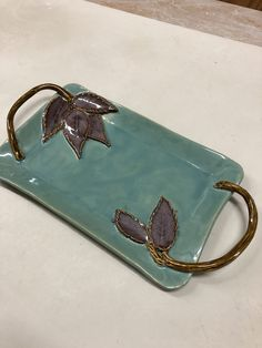 Most up-to-date Pics Slab Pottery leaves Popular Karen Lucid Pottery. Teal and Plum Rectangle Tray w/Leaves and Branch Handles. Hand Built Pottery, Slab Pottery, Pottery Mugs, Ceramic Pottery, Thrown Pottery, Pottery Gifts, Ceramic Clay, Ceramic Plates, Cerámica Ideas