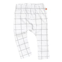 White Tartan Grid Print Pants by Tinycottons - Junior Edition