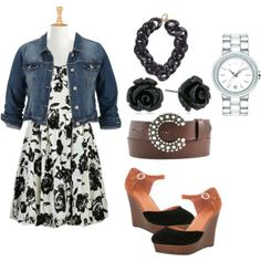 """""""Black and White and Roses All Over #Plus Size Fashion"""" by laronda-r on Polyvore"""