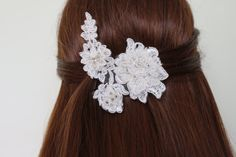 Bridal Hair Accessories White lace bridal hair accessory, mounted on comb. Easy to use, stylish accessory to complement the wedding dress. Small sizes can be made if desired. Please contact me for special order.   FREE SHIPPING !  I usually send the Turkish postal services.  Products 24 hours after purchase, mail given product. On weekends given product mail after 48 hours.  If you want express mail, https://www.etsy.com/listing/260476623/ekspress-ship?ref=shop_h...