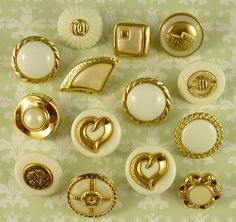 14 x Small Gold Tone White Plastic Buttons Sweet Designs Crafts | eBay