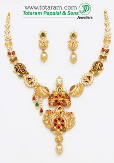 22K Gold 'Peacock' Necklace & Earrings Set With Ruby - GS2537 - Indian Jewelry from Totaram Jewelers