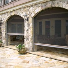 Phantom retractable screens in stone archway - traditional - patio - other metros - Retracta Screen of the Carolinas, Inc. I neeeeed this for my home when I get one! House Design, Home, Stone Archway, Outside Living, Screened In Patio, House Exterior, Patio Design, New Homes, Outdoor Kitchen