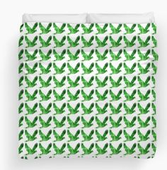 Trees - Dove Duvet Cover by JUSTART on Redbubble  #justart #rb #redbubble #duvetcover #bedding #home #decor #bedroom #dove #bird #pattern #green #trees #white #repeat