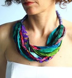 Silk necklace from colorful silk sari ribbon, boho necklace, multicolored silk scarf, ethnic necklace, spring fashion Beaded Tassel Necklace, Fabric Necklace, Boho Necklace, Ribbon Necklace, Boho Earrings, Textile Jewelry, Fabric Jewelry, Jewelry Crafts, Handmade Jewelry