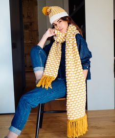 Free Knitting Pattern for a Brick Stitch Scarf and Hat Set. Skill Level: Intermediate Colorwork scarf and matching hat set. Easy Scarf Knitting Patterns, Crochet Baby Hat Patterns, Christmas Knitting Patterns, Crochet Baby Hats, Lace Knitting, Sweater Patterns, Crochet Pattern, Stitch Patterns, Knitting Accessories