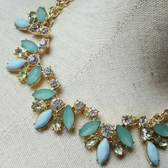 """Mint Retro Vintage Style Gem Necklace Rhinestone A gorgeous throwback to the days of weekly salon trips and house dresses. Mints and blues make for a soft and feminine palette. Chain measures 18"""". Jewelry Necklaces"""
