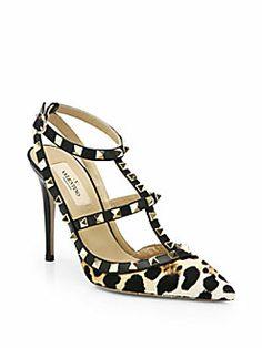 Valentino - Rockstud Leopard-Print Calf Hair Slingback Pumps