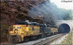 One of the former Western Maryland chop-nose GP9s, #6415, is leading a freight westbound as it exits the Sand Patch Tunnel in Pennsylvania on September 21, 1980.