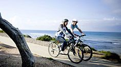 Cycling along Torquay Esplanade, Great Ocean Road, Victoria, Australia