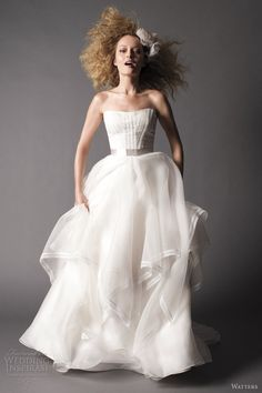 Watters fall 2012 brides strapless layered ball gown wedding dress