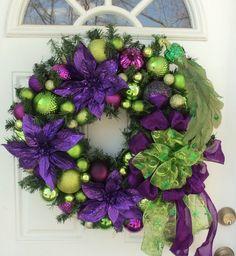 Peacock Purple Lime Green Christmas Wreath Home Decor Purple Poinsettia
