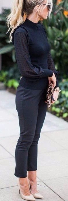 Like the sweater-blouse combination. shoes too high