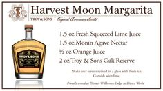Recipe for the Harvest Moon Margarita which is currently being served at Disney's Wilderness lodge in Florida! This is a delicious twist on a classic!