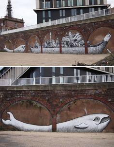 PHLEGM For PangeaSeed Sea Walls San Diego USA - Awesome mechanical shark mural phlegm