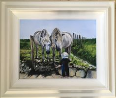 A little boy having a chat with two horses . They are at a beach in the west of Ireland. Two Horses, Irish Art, Ireland, Beach, Summer, Painting, Seaside, Summer Recipes, Painting Art