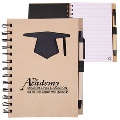 Promotional Recycled Die Cut Notebook: Graduation Cap Item #JET-NB136 (Min Qty: 100). Customize your Promotional Notebooks with your company logo and with no setup fees.