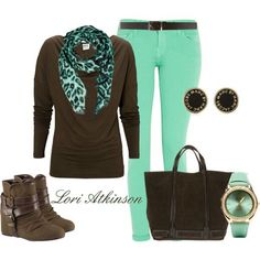 """""""Mint and Brown"""" by Lori Atkinson on Polyvore"""