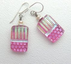 Strawberry Ice Earrings, Handmade Fused Glass Jewelry