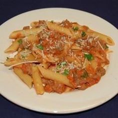 Penne with Spicy Vodka Tomato Cream Sauce Recipe - Allrecipes.com