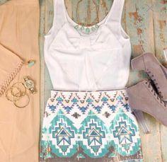 printed skirt, booties & white tank