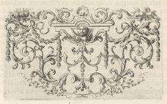 Ornament met een mascaron, guirlandes, bladranken en schelp |Picart, Bernard