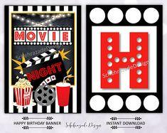 Movie Clipart Movie Night Clip Art Popcorn Clipart Cinema | Etsy Birthday Garland, Happy Birthday Banners, Popcorn, Movie Party Decorations, Bubble Birthday Parties, 5th Birthday, Movie Clipart, Backyard Movie Party, Movie Night Party