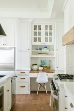 Kitchen desk | House of Jade Interiors.  Like the small workspace
