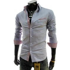 (AL180-ASHBLUE) Slim Fit Check Patched Stretchy Shirts