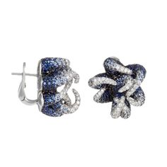 Palmiero Jewelry 18K White Gold Contemporary Marine-Inspired Sapphire & Diamond Earrings (=)