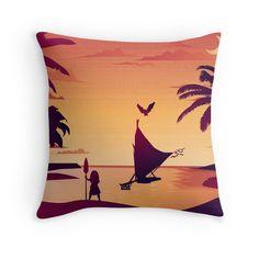 Moana, Maui, Hawaii, Disney Princess, Sunset, Home décor, pillow yellow purple peach palm trees beach