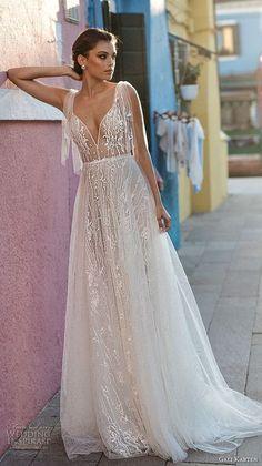 8a700ac1e2675 gali karten 2018 bridal spaghetti strap deep sweetheart neckline full  embellishment romantic soft a line wedding dress open scoop back sweep  train mv ...