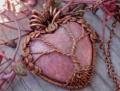 ~` amazing copper tree of life with pink stone `~