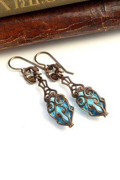 Etruscan Aquamarine Dangles- Artisan Czech Vintage Reclaimed Earrings