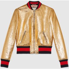 Gucci Crackle Leather Bomber Jacket ($2,730) ❤ liked on Polyvore featuring outerwear, jackets, gold, womens ready to wear, gucci jacket, beige jacket, flight jacket, bomber style jacket and zipper leather jacket