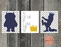 Group of 3 8x10 Printable Prints - Where the Wild Things Are I'll Eat you Up I Love You So - INSTANT Download on Etsy, $13.91 AUD