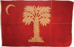 "The Citadel's ""Big Red"" Flag Rediscovered.  Citadel Spirit Flag. Recently discovered in an Iowa museum, the flag which flew over the cadet's battery on Morris Island has recently returned to South Carolina. (State Historical Society of Iowa)"