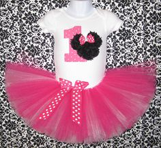 Minnie Mouse First Birthday Tutu Set...Pink and White by Zobows
