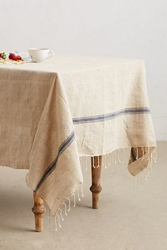 Lost & Found Striped Jute Tablecloth - anthropologie.com