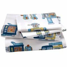 Boy Bedding: Full Robot Sheet Set (Includes 1 fitted sheet, 1 flat sheet and 2 cases) by Land of Nod. $99.00. 100% cotton percale. It's alive! After countless hours of tinkering around in our merchandising department, we've brought our robot sheets to life. Our printed robot bedding features an army of blue, green, orange and silver marching robots. *Product Details* A Julia Rothman design 200-thread count Duvet Cover available in Twin and Full-Queen Coordinates...