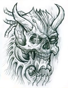 Skulls which are haunted by ancient spirits. Sketched with a #2 pencil on photocopy paper.